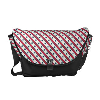 Chic striped american Labor Day Pattern with Stars Courier Bag