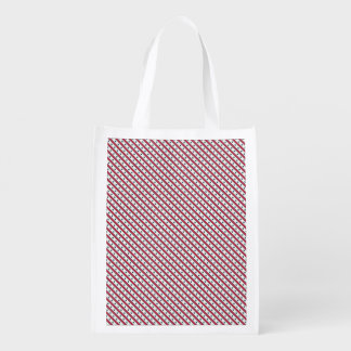 Chic striped american Labor Day Pattern with Stars Grocery Bag