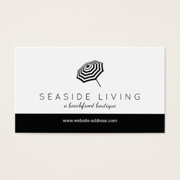 Beach Themed Chic Striped Beach Umbrella Logo Boutique Business Card