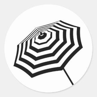 Chic Striped Beach Umbrella Logo Classic Round Sticker