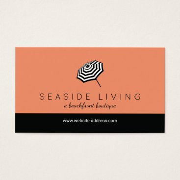Beach Themed Chic Striped Beach Umbrella Logo Coral Business Card