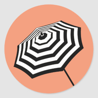 Chic Striped Beach Umbrella Logo Coral Classic Round Sticker