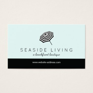 Beach Themed Chic Striped Beach Umbrella Logo Mint Business Card