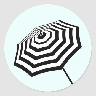 Chic Striped Beach Umbrella Logo Mint Classic Round Sticker