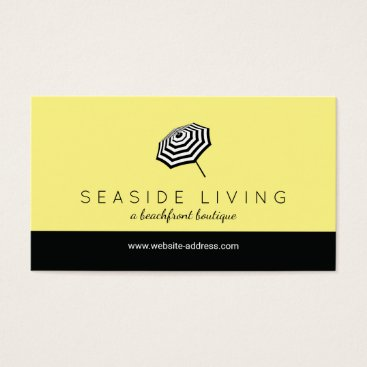 Beach Themed Chic Striped Beach Umbrella Logo Yellow Business Card