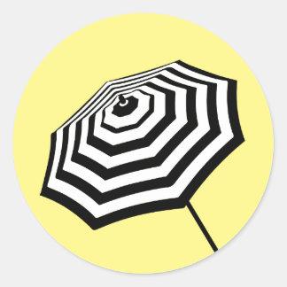 Chic Striped Beach Umbrella Logo Yellow Classic Round Sticker
