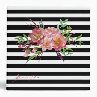 Chic Stripes and Flowers Custom Binder