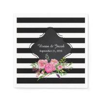 Chic Stripes and Peonies Wedding Napkin