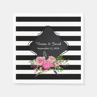 Chic Stripes and Peonies Wedding Napkin