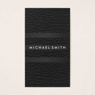 Chic Stripes Faux Leather Business Card