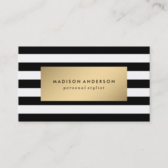 Chic Stripes In Gold Business Cards Zazzle Com