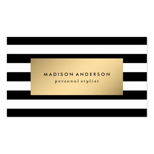 Chic Stripes in Gold Business Cards