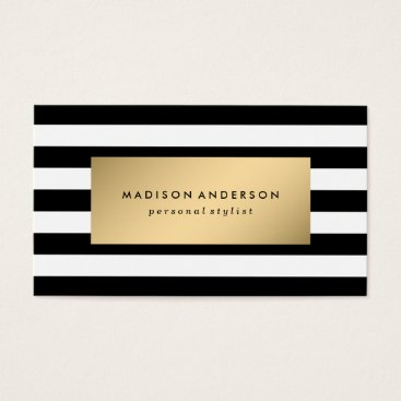 Professional Business Chic Stripes in Gold | Business Cards