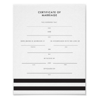 Chic Stripes Keepsake Marriage Certificate Poster