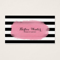 Chic Stripes Pink Black White Makeup Artist Business Card at Zazzle