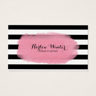 Chic Stripes Pink Black White Makeup Artist Business Card
