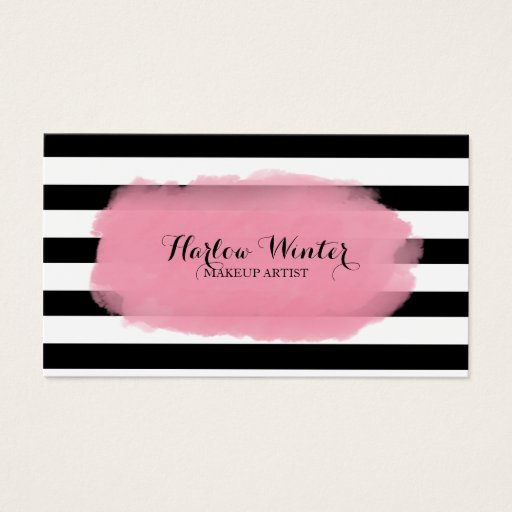 Chic Stripes Pink Black White Makeup Artist Business Card