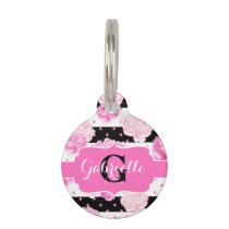 Chic Stripes Pink Flowers Name Initial Cat or Dog Pet Name Tag