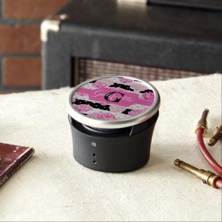 Chic Stripes Pink Watercolor Floral Monogram Bluetooth Speaker