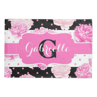 Chic Stripes Pink Watercolor Floral Monogram Pillow Case