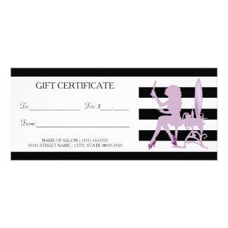 Chic Stripes Purple Girl Salon Gift Certificate