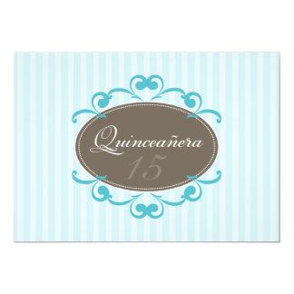 Chic Stripes Quinceanera Invitation (aqua)