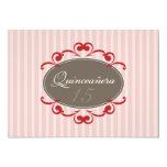 Chic Stripes Quinceanera Invitation (cranberry)