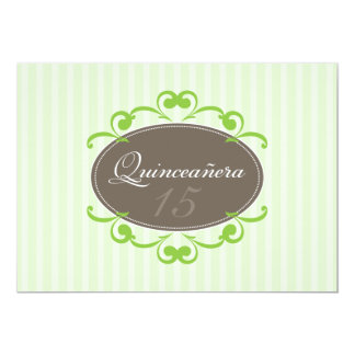Chic Stripes Quinceanera Invitation (green apple)