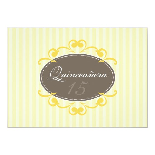 Chic Stripes Quinceanera Invitation (lemon yellow)