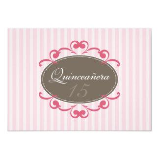 Chic Stripes Quinceanera Invitation (rose)