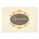 Chic Stripes Quinceanera Invitation (tangerine)
