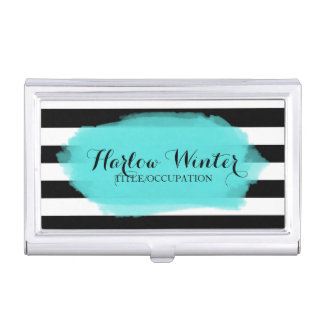 Chic Stripes Turquoise Black White Case For Business Cards