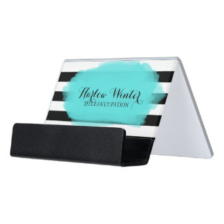 Chic Stripes Turquoise Black White Desk Business Card Holder