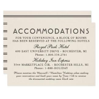 Chic Stripes Wedding Accommodations | Warm White Card