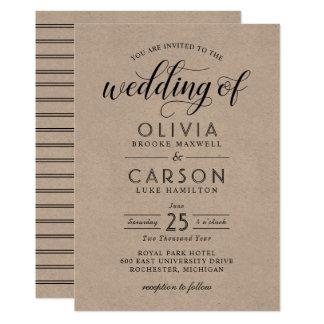 Chic Stripes Wedding Invitations | Kraft and Black