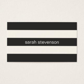 Chic Stylish Black and Cream Striped Modern Business Card