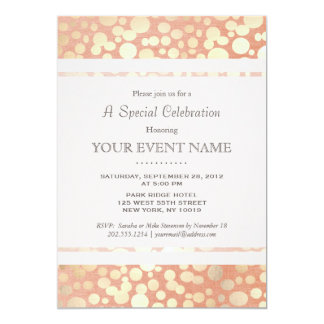 Chic Stylish Faux Gold Foil Circles & Peach Linen 5x7 Paper Invitation Card