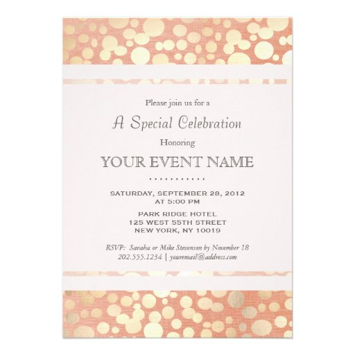 Chic Stylish Faux Gold Foil Circles & Peach Linen Invite (front side)