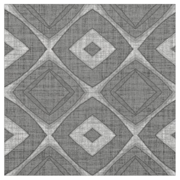 LolasFabulousFabrics Chic Stylish Gray Faux Batik Linen Squares Pattern Fabric