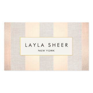 Chic Stylish Interior Decorator Rose Gold Stripes Business Card