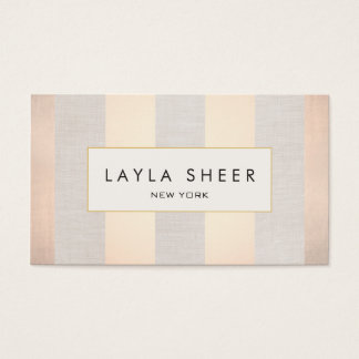 Chic Stylish Interior Decorator Rose Gold Stripes Business Card