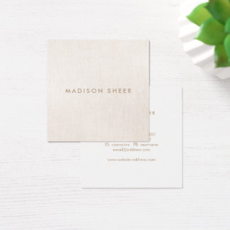 Chic Stylish Modern Beige Linen Square Business Card