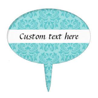 Chic stylish ornate aqua blue damask pattern cake topper