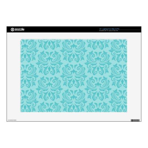 Chic stylish ornate aqua blue damask pattern laptop decals