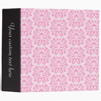 Chic stylish ornate cute pink damask pattern binder