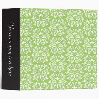 Chic stylish ornate lime green damask pattern 3 ring binder