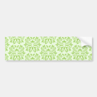 Chic stylish ornate lime green damask pattern bumper sticker