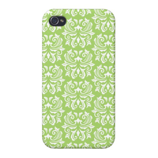 Chic stylish ornate lime green damask pattern iPhone 4/4S cover