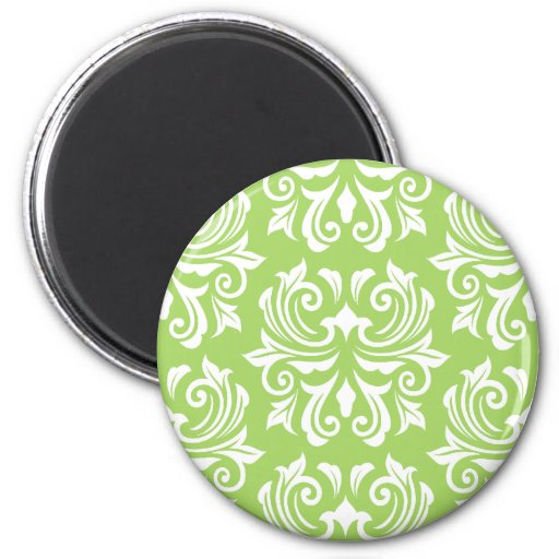 Chic stylish ornate lime green damask pattern fridge magnets