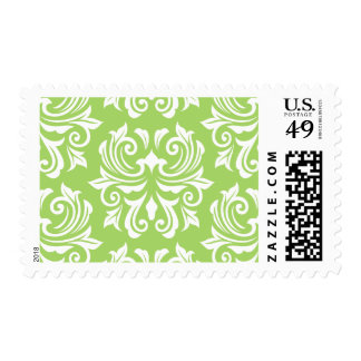 Chic stylish ornate lime green damask pattern postage